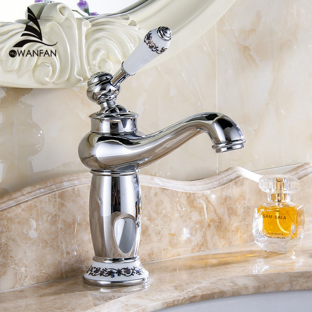 Basin Faucets Chrome Bathroom Faucet Ceramic Base Single Hole Brass Basin Sink Faucet Single Handle Water Mixer Taps Crane M-16
