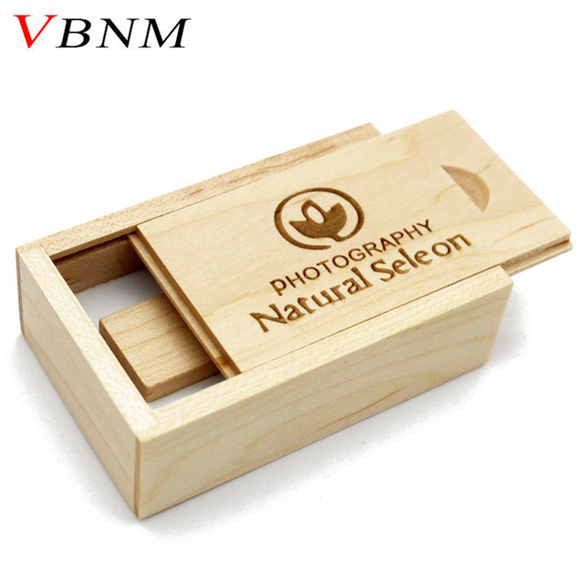 VBNM Wooden usb + BOX usb flash drive Memory stick pendrive 8GB 16GB 32GB U disk LOGO engraving for Photography wedding gift