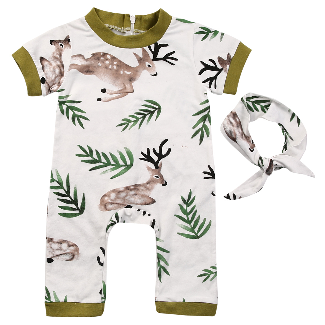 Cute Newborn Baby Romper Clothes 0-24M Short Sleeve Bebes Bodysuit Jumpsuit Deer Zipper Sunsuit +Headband 2PCS Outfit Tracksuit 2017 floral baby romper newborn baby girl clothes ruffles sleeve bodysuit headband 2pcs outfit bebek giyim sunsuit 0 24m