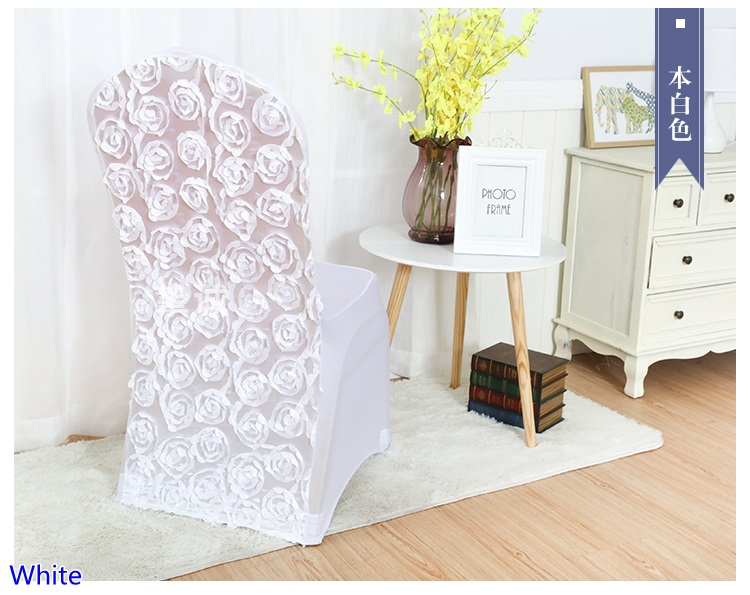 Stupendous White Colour Spandex Chair Covers Rosette Chair Cover Rose Flower Design Lycra For Wedding Banquet Hotel Decoration In Chair Cover From Home Garden Theyellowbook Wood Chair Design Ideas Theyellowbookinfo