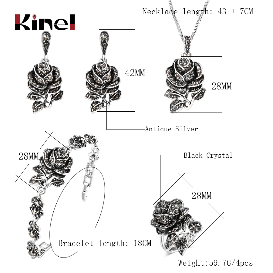 Kinel Fashion Silver Color Vintage Wedding Jewellery Set Black Crystal Rose Flower Ring Jewelry Sets For Women Party Gift