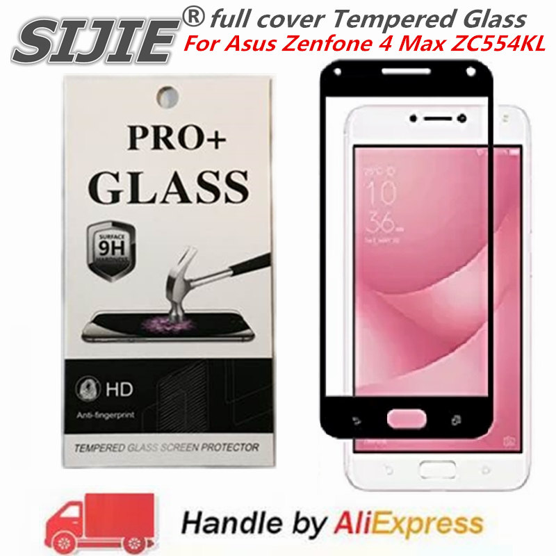 full cover Tempered Glass For Asus Zenfone 4 Max ZC554KL Suitable Screen protective toughened fit on edges case friendly in Phone Screen Protectors from Cellphones Telecommunications