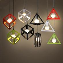 Lámpara colgante clásica de metal con forma de cubo, lámpara de techo, iluminación interior, bar, restaurante, lámpara colgante de ventana