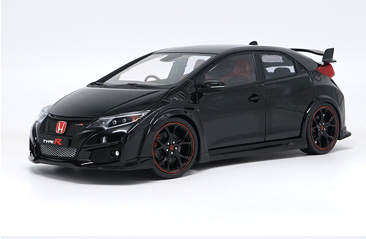 1:18 Diecast Model for Honda Civic TYPE R 2016 Black Alloy Toy Car Miniature Collection Gifts TYPER MK10