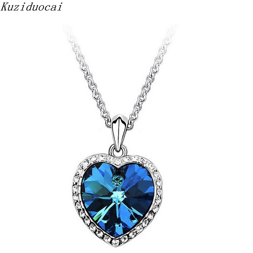 K New Fashion Fine Jewelry Rhinestone Crystal Oceans Heart Titanic Clavicle chain Necklaces & Pendants For Women N-64