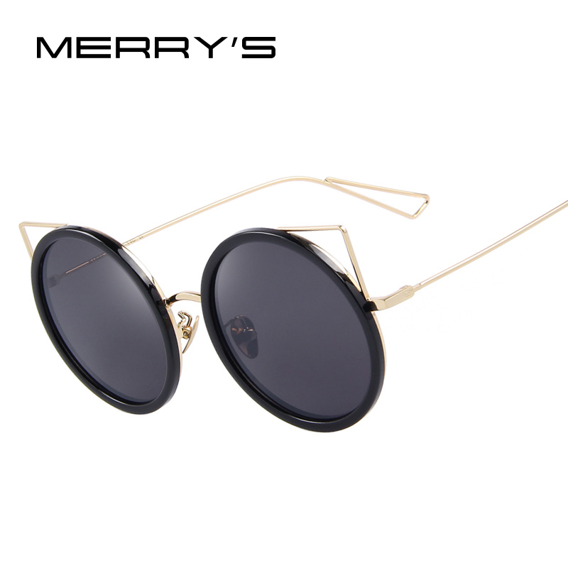 MERRY'S Women Cat Eye Sunglasses Brand Designer Sunglasses Classic Shades Round Frame Oculos de sol UV400
