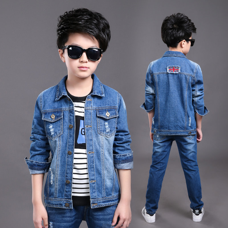 2017 Children's Clothing for Spring Boys Outfits Children's Coat Jackets Denim Blue Boys Jacket Outwears Jeans Denim Jacket Kids цена и фото
