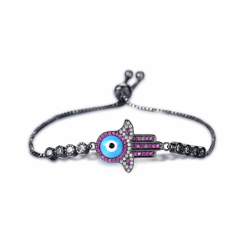 Turkey Evil Eye Rhinestone Copper AAA Zircon Fatima Hamsa Hand Bracelet Women Men Sample Charm Bracelets Turkey Jewelry