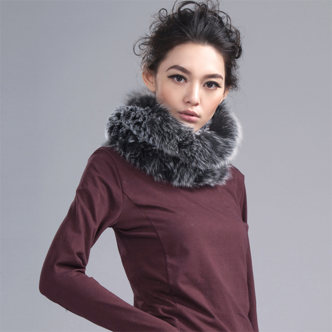 62cm length Women's real fox fur   scarf   winter warm genuine fox fur knitted knit   scarves     wraps   band new fur Rings winter   scarf