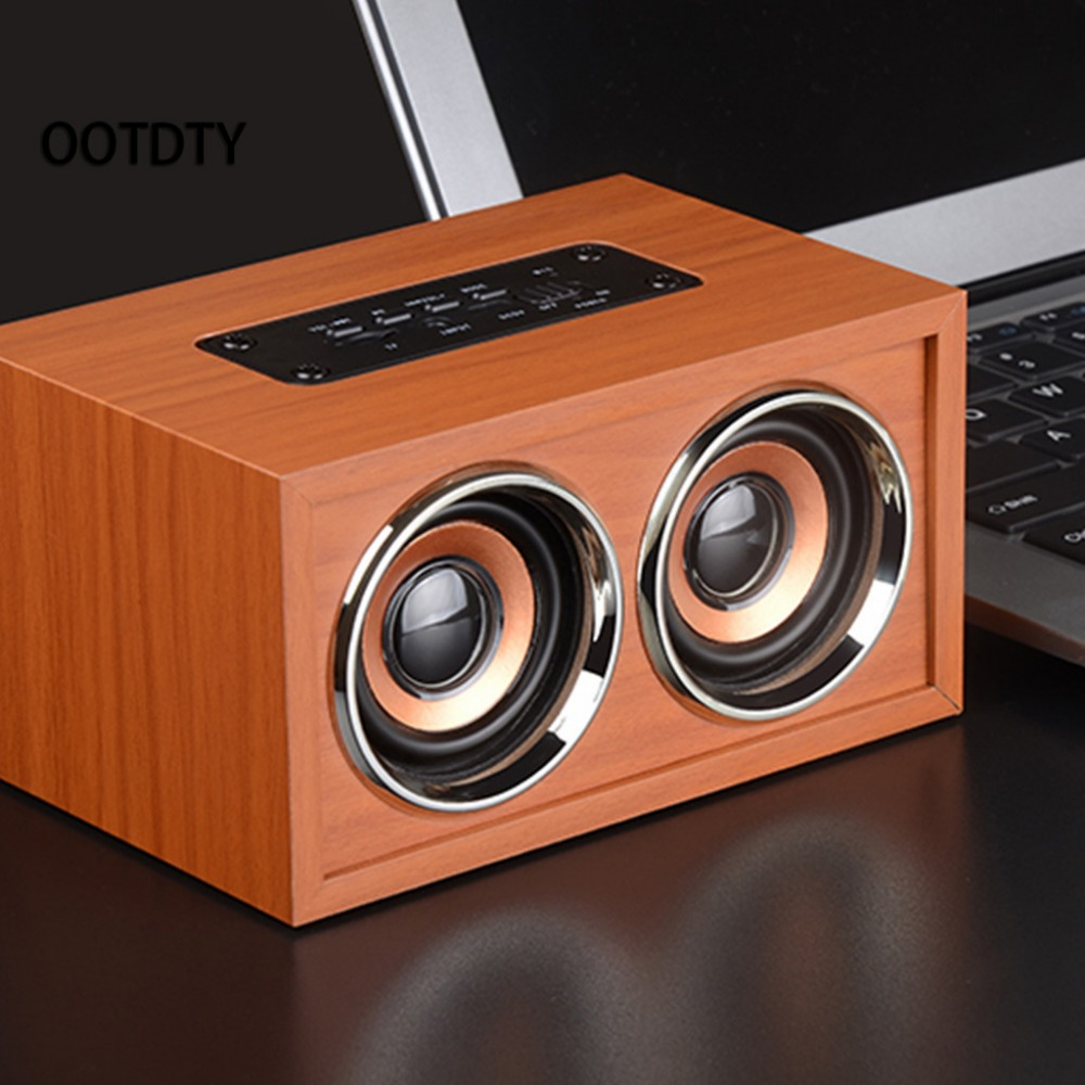 W4 Portable Retro Wooden Dual Loudspeakers Wireless Bluetooth Speaker 3D Surround