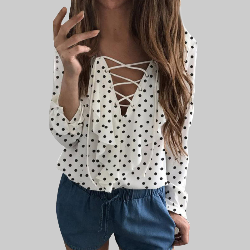 2018 Hot Sale women Fashion clothes Fashion Women Ladies Long Sleeve Loose Blouse Chiffo ...
