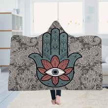 Yoga mat Hooded blanket cloak Magic hat Thick double-layer plush 3D digital printing Palm series