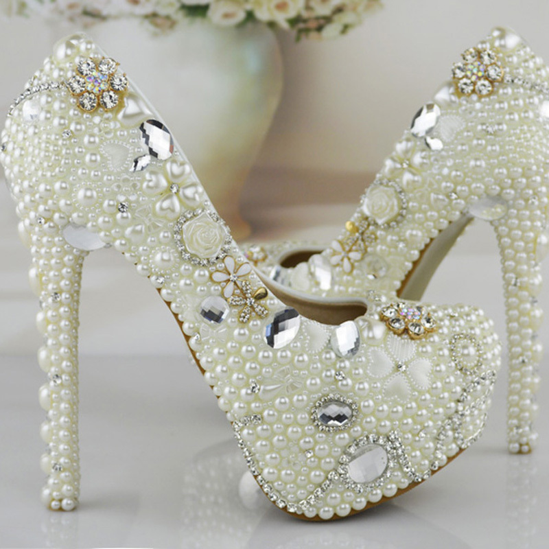Fashion Ivory White Pearl High Heels Crystal Bridal Prom Party Shoes  Wedding Shoes Women Pumps Gorgeous Wedding PartyProm Shoes new arrival white wedding shoes pearl lace bridal bridesmaid shoes high heels shoes dance shoes women pumps free shipping party