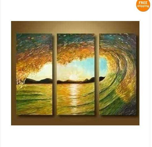 beautiful~! Modern Abstract Art Oil Painting On Canvas - Ocean Waves Surf