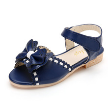 Summer Girls Peep Toe Single Shoes Kids Girls Bow Tie Wedding Flat Shoes Princess Anti-slip Mary Jane Sandals AA11354