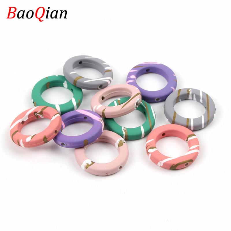 20pcs Acrylic Striped Circle Beads DIY Mixed Color Donut Shaped Beads Earrings Necklace Jewelry Accessories 23mm(China)