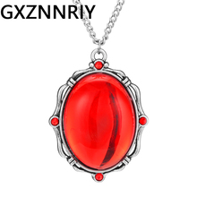 Vintage Red Precious Stone Pendant Necklace for Women Accessories Antique Chain Long Necklaces Pendants Female Jewelry Gifts