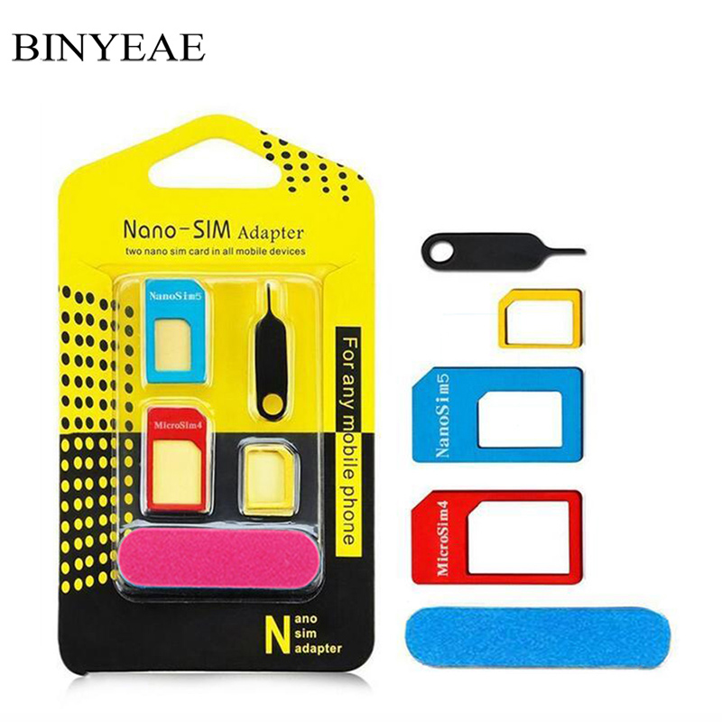 5 in1 Nano Micro Standard Sim Card Adapter Kit Converter abrasive Bar Tray Needle For Samsung S5 S6 S7 S8 Note 4 5 8 Edge Plus