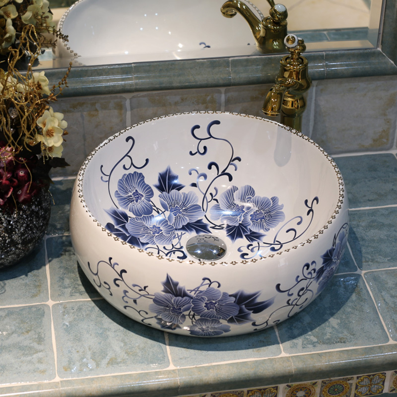 blue and white ceramic art basin sinks counter top wash