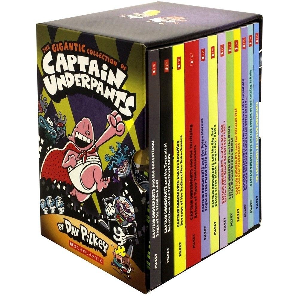 12 الكتب/تعيين العملاق جمع الكابتن السروال بواسطة Dav Pilkey الإنجليزية كتاب القصة مجموعة هزلية كتاب للأطفال على  مجموعة 1