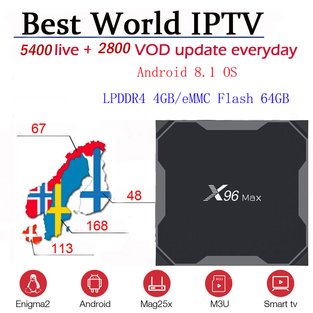 X96 MAX Android 8.1 TV BOX 5400+ Live and vod Nordic Scandinavia Europe Sweden Norway Finland Denmark IPTV M3u Mag TVIP Enigma2