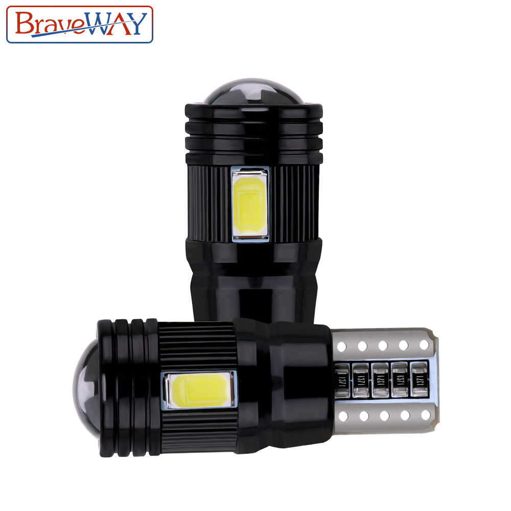 BraveWay 2pcs T10 LED Bulb Canbus Error Free 5730 6SMD W5W Lamp Auto Interior Clearance Parking Lights Car Styling 194 168 12V