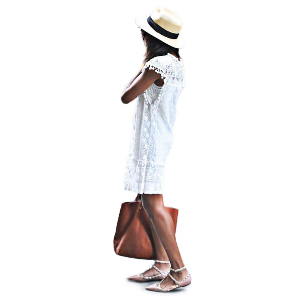 VESTLINDA Lace Dress Women O Neck Sleeveless Solid White Dress Summer 2017 Fresh Style Loose Mini Short Dress Vestidos Plus Size 3