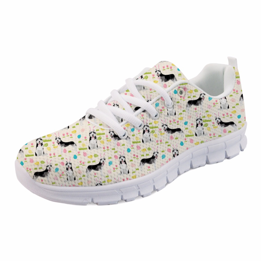 INSTANTARTS Funny Puppy Husky Print Women Mesh Flats Shoes Fashion Teen Girls Spring/Autumn Walking Flats Casual Women's Sneaker instantarts cute glasses cat kitty print women flats shoes fashion comfortable mesh shoes casual spring sneakers for teens girls