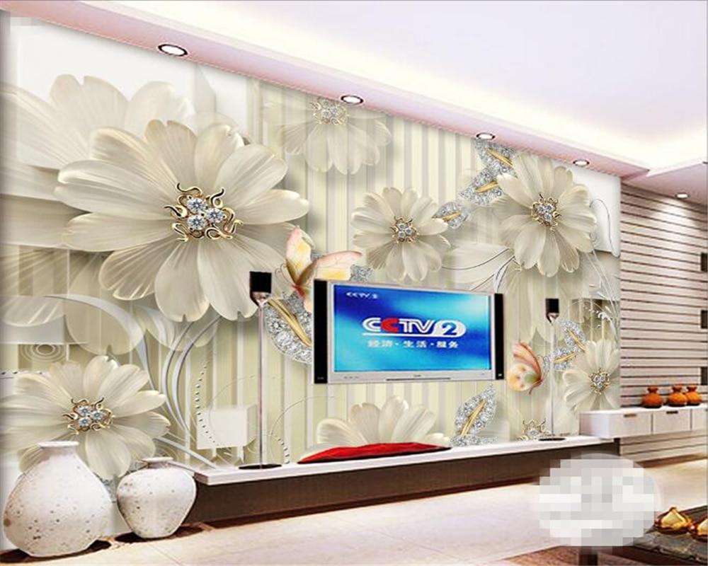 Beibehang 3D Tapete Große HD Relief Floral Vertikale Gestreiften ...