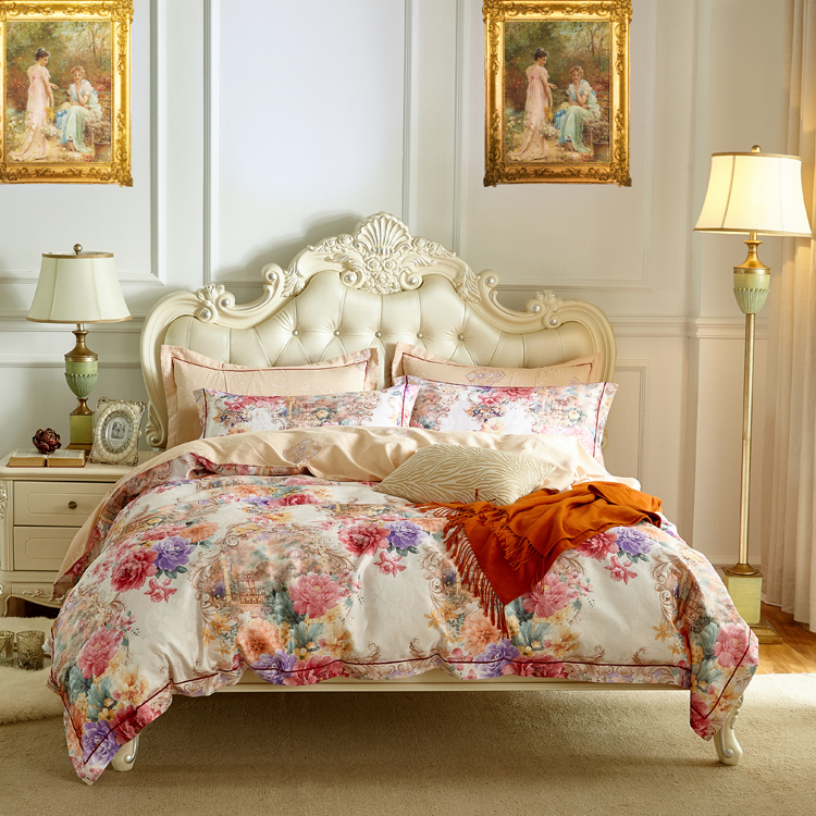 4 stks Queen king size 100% katoen luxe beddengoed set bloemen jacquard bed dekbedovertrek laken set beddengoed bed set-in Beddengoed sets van Huis & Tuin op  Groep 1