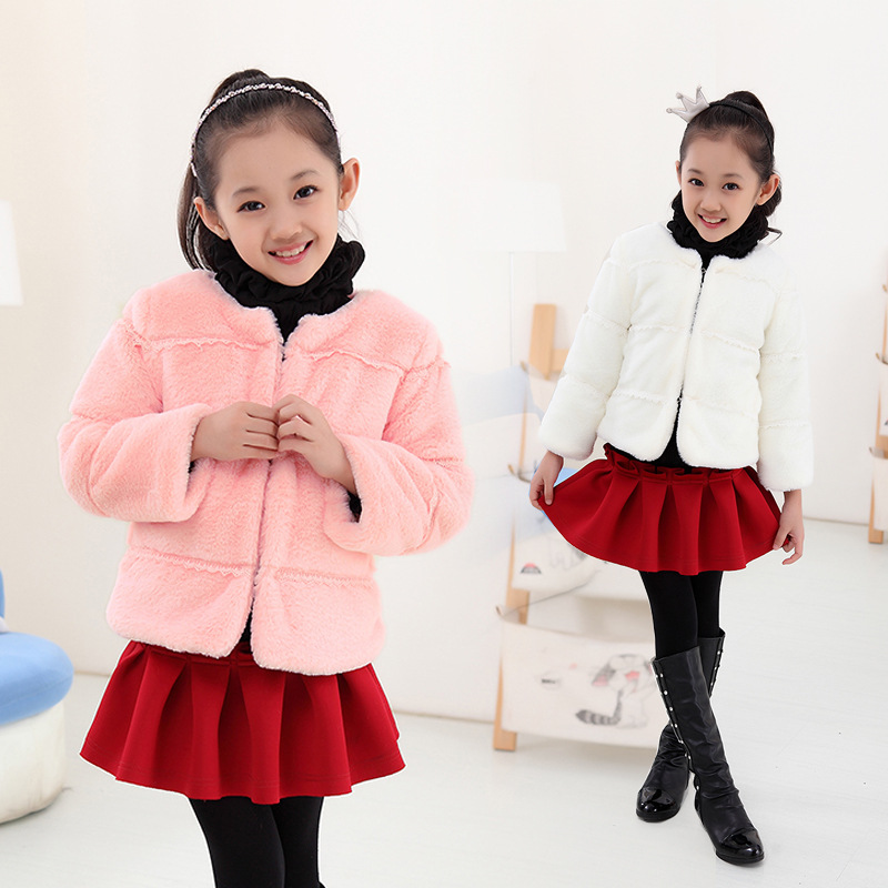 5370b730e Fashion Autumn and winter children bunny clothing baby girls faux ...