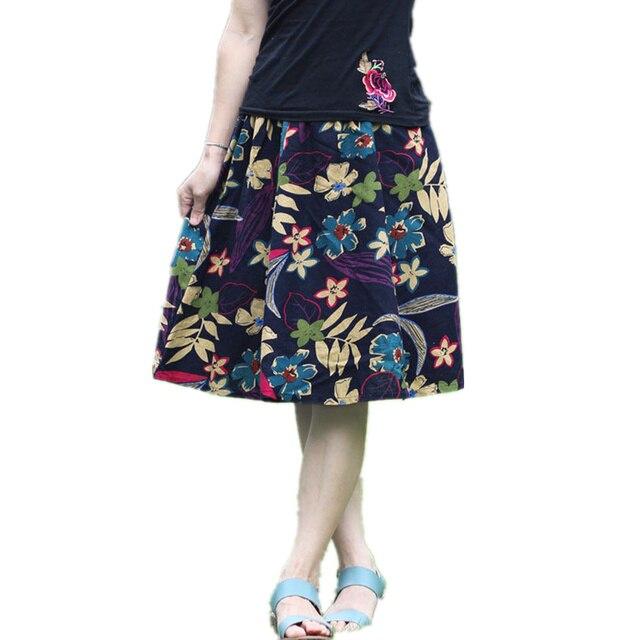 a687fd20d32aeb Mode Elegante Bloemenprint Vrouwen Knielengte Rokken Zomer Losse Dames EEN  Lijn Rokken Elastische Taille Dames Femme