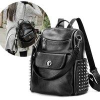 AMONCHY Brand Designer Rivet Backpack Genuine Leather Women Backpacks Natural Calfskin Shoulder Bags For Female Durable Back Bag