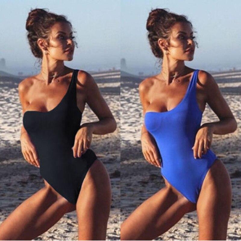 2018 Brand New Women One-Piece Swimwear Bandage Bikini Push-up Padded Swimsuit One Shoulder Solid Bathing suit Tankini