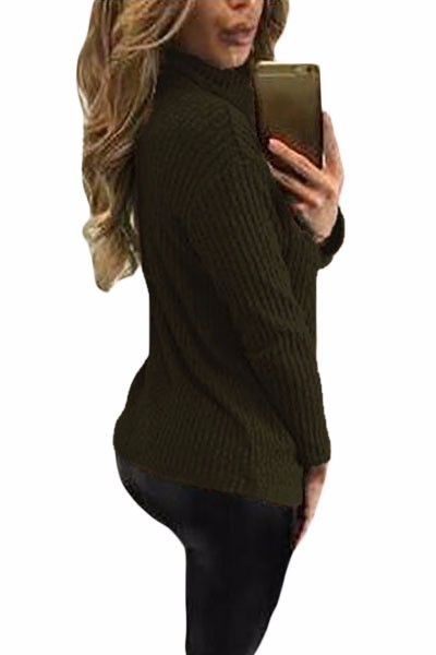 Green-Turtleneck-Lace-Up-Grommet-V-Plunge-Sweater-LC27633-9-2