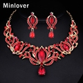 Minlover Red&Blue Color African Beads Wedding Jewelry Set Crystal Choker Necklace and Drop Earrings for Women TL405