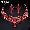 Minlover Rojo y Azul del Color Beads Africanos Joyería de La Boda Set Crystal Gargantilla Collar y Los Pendientes de Gota para Las Mujeres TL405