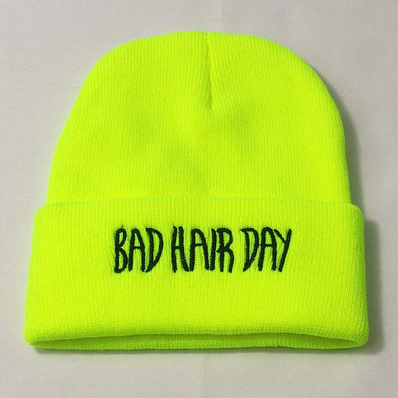 Embroidery Texts Winter Hats for Men Knit Women Beanie Neon Yellow Neon Green Red Grey Soft Stretchy Acrylic Yarn image
