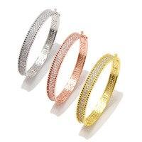 New Arrival Micro Paved Full Crystal Bangle for Women Luxury AAA CZ Stone Bridal Wedding Bangle Party Bracelet&Bangle