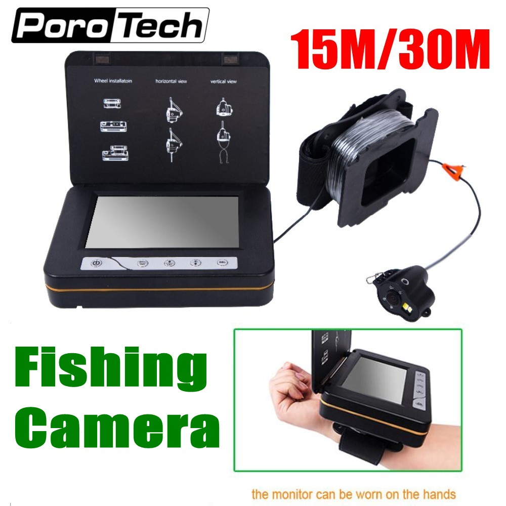 WF15 5 Inch LCD Monitor 15M 30M Fish Finder Underwater Ice Fishing Camera with DVR Function temperature,direction,depth display EYOYO