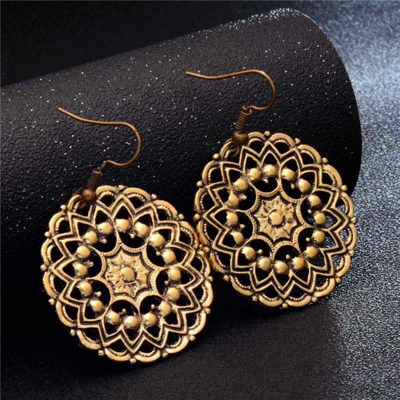 3cd08d0babaa5 QCOOLJLY New Ancient Style Brass Gold Tone Ornate Swirl Hoop Gypsy Indian  Tribal Ethnic Earrings Boho Dangle Earrings Jewelry