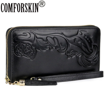 COMFORSKIN Luxurious Cowhide Leather Unique Embossing Flower Ladies Zipper Purse 2019 Long Chinese Style Women Organizer Wallet