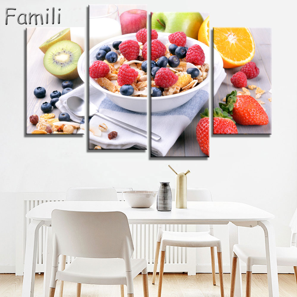 modern kitchen home interior high quality pictures   4Panels High Quality Frame Canvas Painting kitchen fruit ...