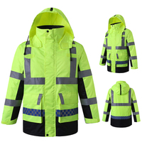 EN471 High visibility safety reflective rain jacket winter parka with reflective tapes