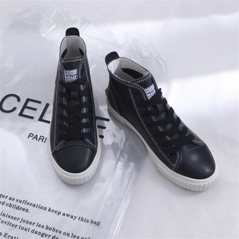 Bout Msstor Couleurs Haute Mélangées noir Femmes 2018 Couture Femme Chaussures Printemps up Sneakers Dentelle Caoutchouc Rond Beige Appartements Automne Top rFqYr4