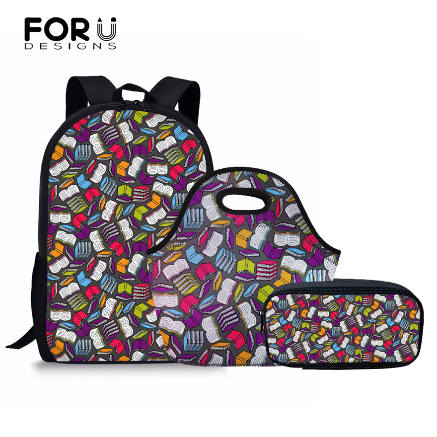 FORUDESIGNS Books Pattern Women Backpack Set Children School Bags For Teenager Girls Boys Backpacks Rugtas Mochila Escolar Kids