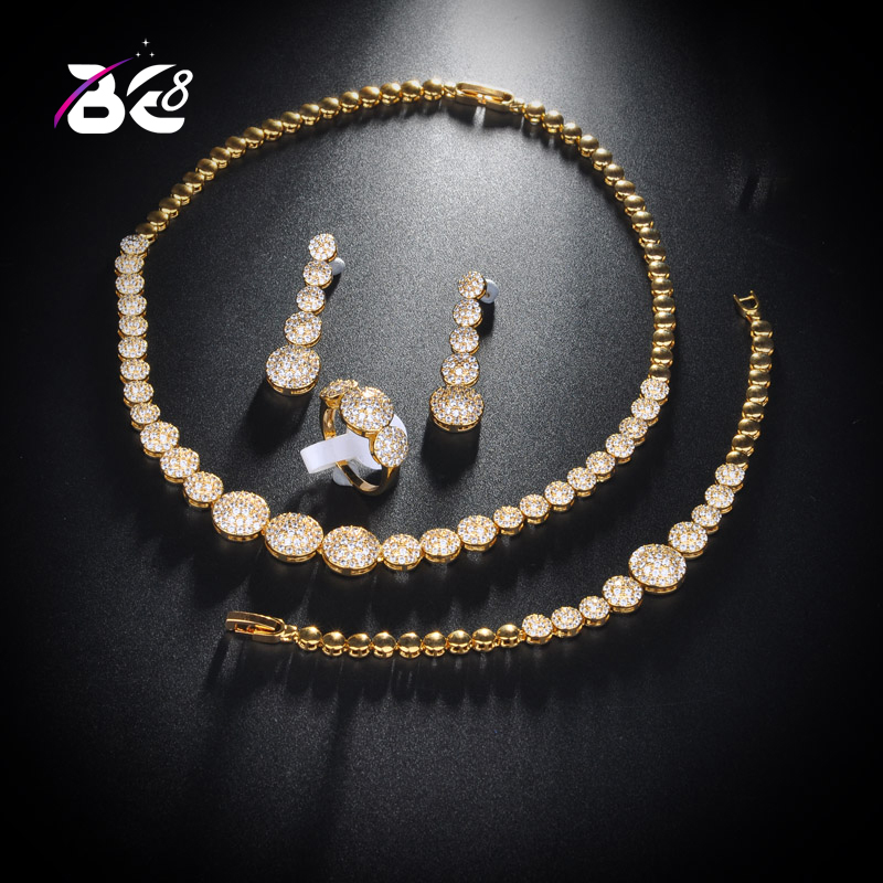 Be 8 Fashion Luxury Jewelry Set with AAA Cubic Zircon Round Shape Woman Copper Wedding Acessories Jewelry Sets Bijoux Femme S147