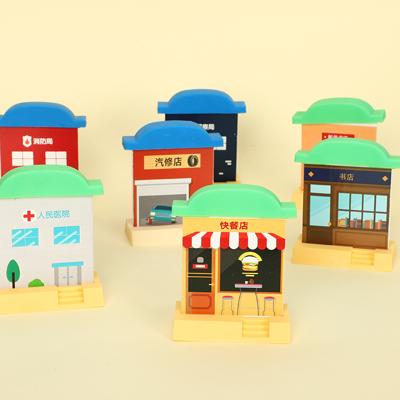 A Variety Of Cabin Combination Wooden Track Scene Accessories Suitable For Train Track Scene Toys Children Track Toys