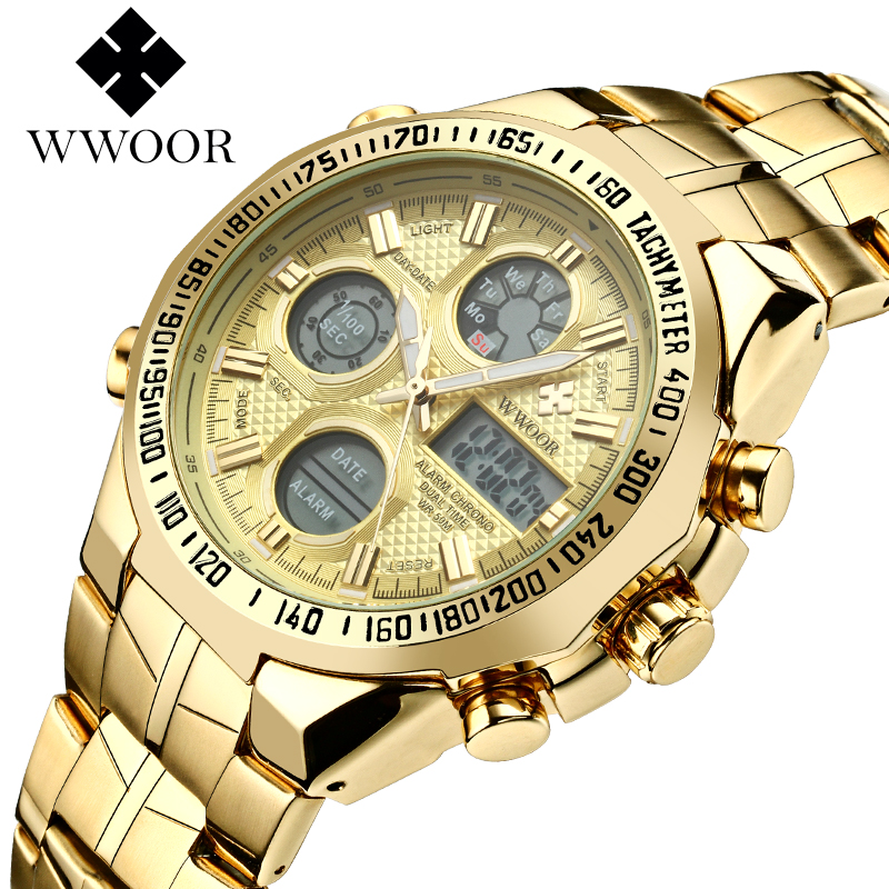 WWOOR Relogio Masculino Top Brand Luxury Watch Men Watches Golden Stainless Steel Military Wristwatch Big Dial Clock Male 2018 oulm male military watches golden oversized big quartz watch top brand men full stainless steel wristwatch relogio masculino