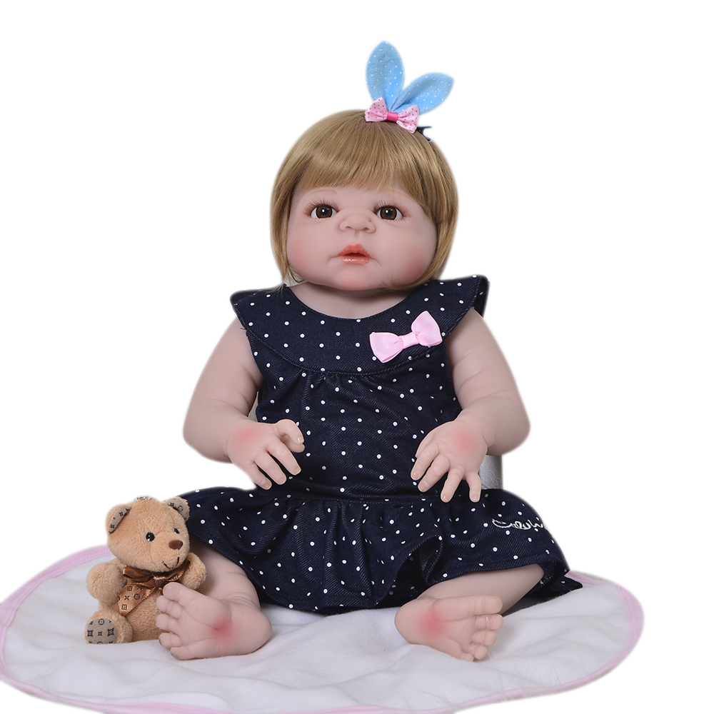 Fashion 23 Inch Full Silicone Vinyl 57 cm Reborn Baby Doll Girl Toys Lifelike Boneca Reborn For Cute Children Birthday Gift 16 inch silicone reborn babies reborn doll cute full silicone baby doll for children girl birthday gift